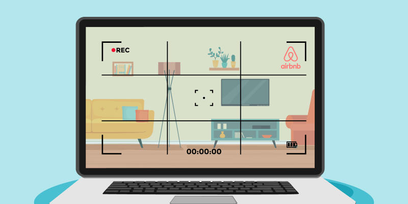 Camera with Airbnb logo films living room