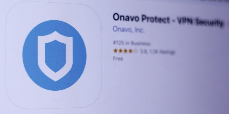 Onavo Protect - VPN Security app in App Store. Close-up on the laptop screen.