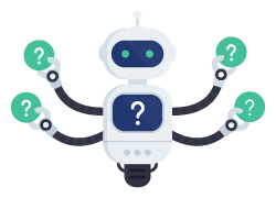 Robot holding question marks