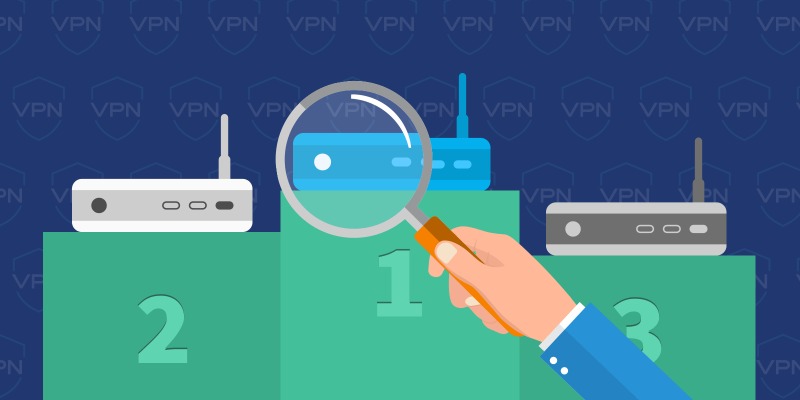 VPN routers on a winning stand