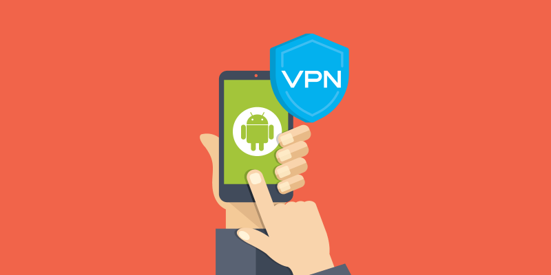 Android phone with VPN logo