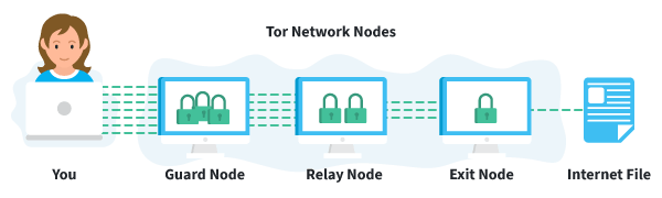 Girl retrieving an internet file through Tor Nodes