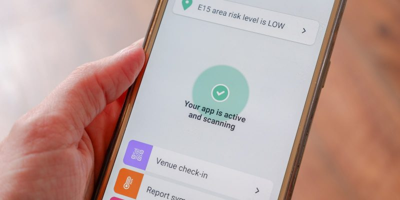 NHS COVID-19 Test and Trace App viewed on a mobile phone