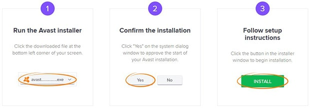 Avast installation steps