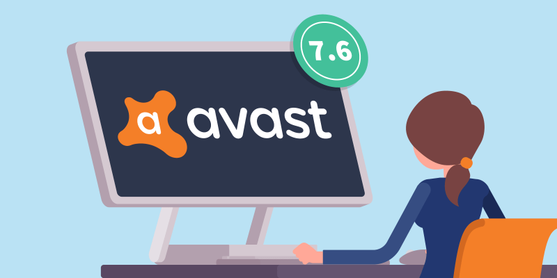 girl sitting behind her computer with avast logo on screen