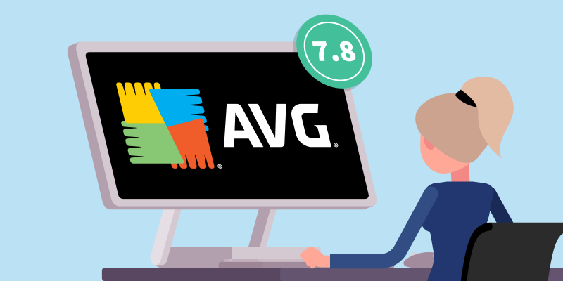 girl sitting behind her computer with AVG logo on screen