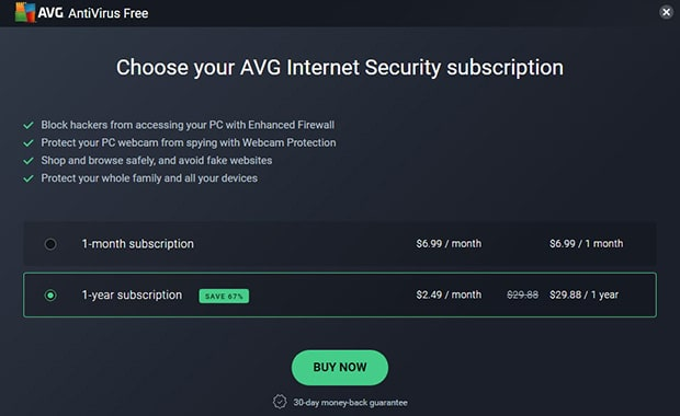 AVG Upgrade Choose Your Subscription