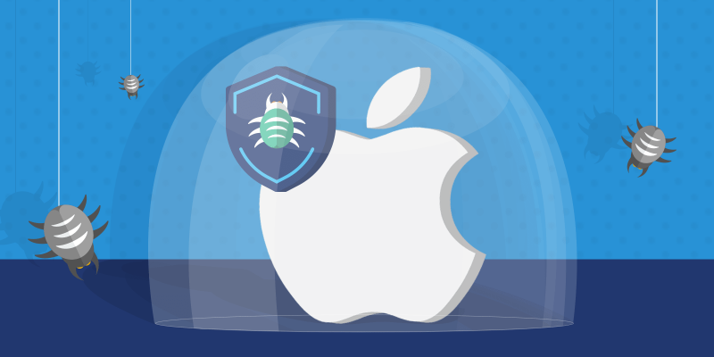 Apple logo protected with antivirus shield icon