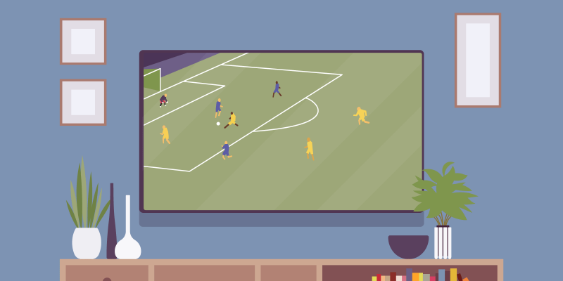 Football match playing on tv