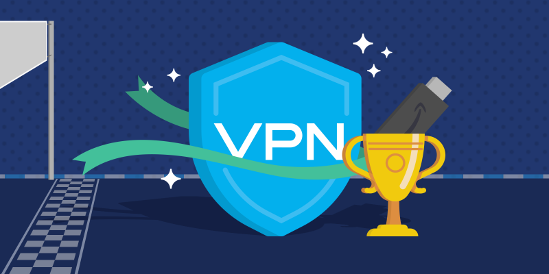 VPN shield icon running through the finish line with Amazon Fire TV Stick icon in a trophy