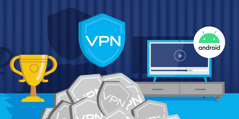 Winning VPN shield icon with a trophy and Android TV in the back