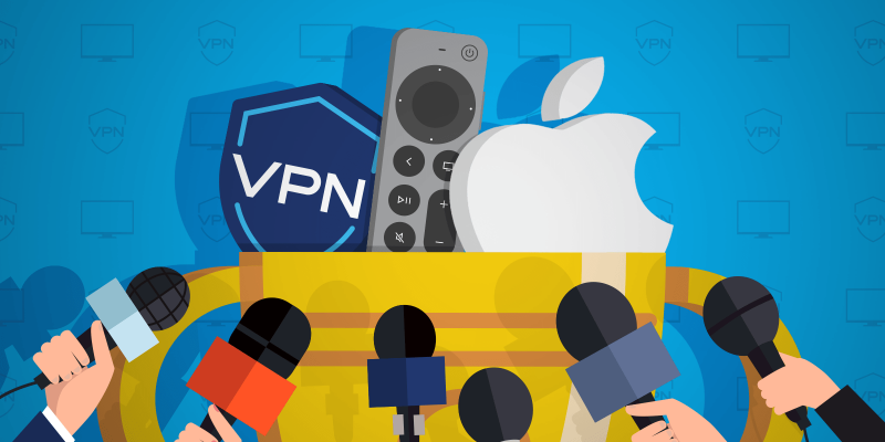 Apple logo, Apple TV remote control and a VPN shield icon inside of a trophy being interviewed by media as a winner