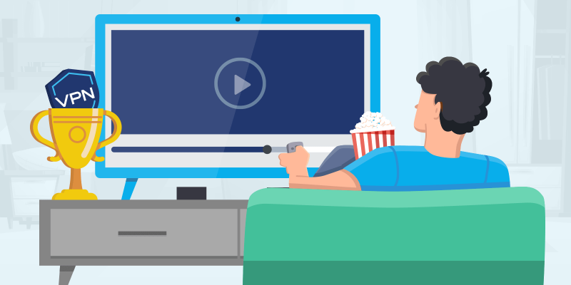 Guy watching TV and a trophy with VPN shield icon inside of it