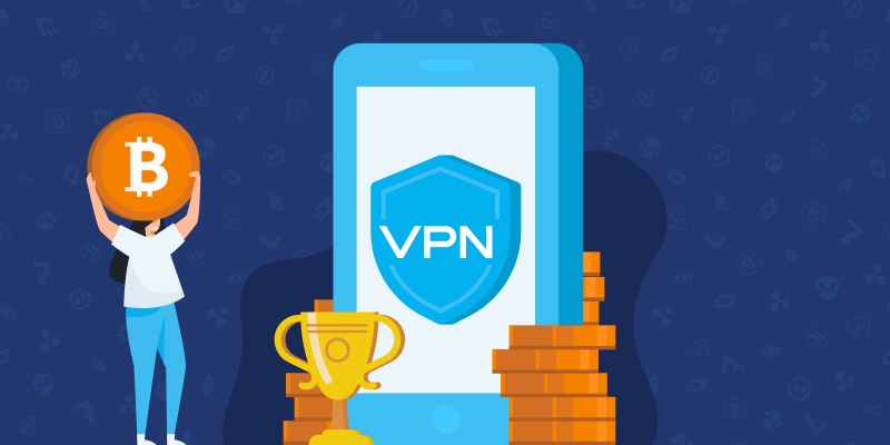VPN on smartphone surrounded by cryptocurrencies and a woman holding up Bitcoin