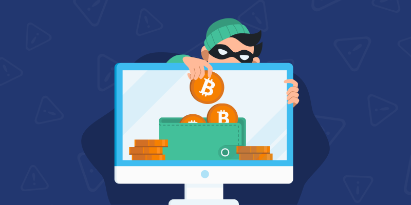 Scammer stealing bitcoin out of a cryptowallet on a computer screen