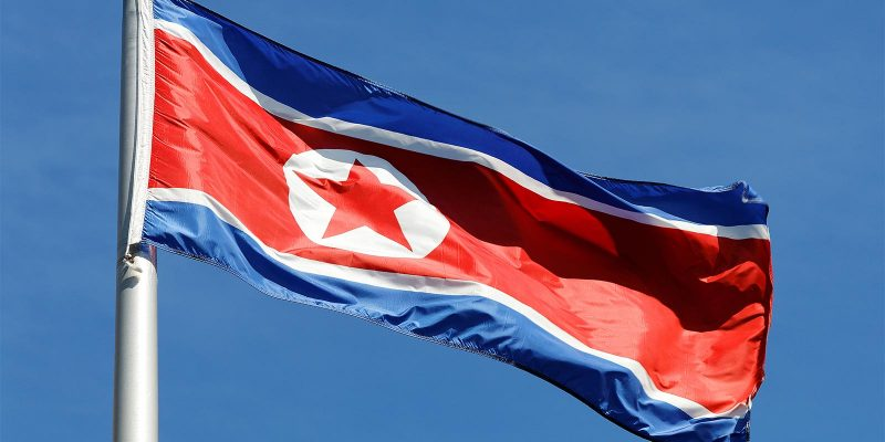 North Korean flag blowing in the wind