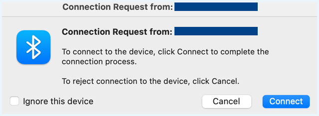 Screenshot of the Bluetooth 'Connection Request' notification