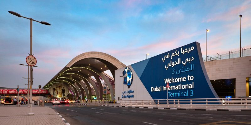 Dubai International Airport, a major airline hub in the Middle East.