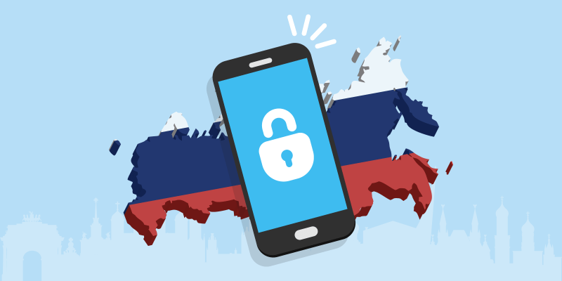 Russia filled in with the colours of the Russian flag with a smartphone with a lock on top of it