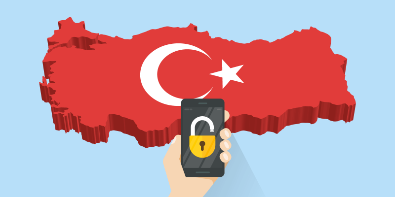 Smartphone with unlocked padlock in front of the country of Turkey