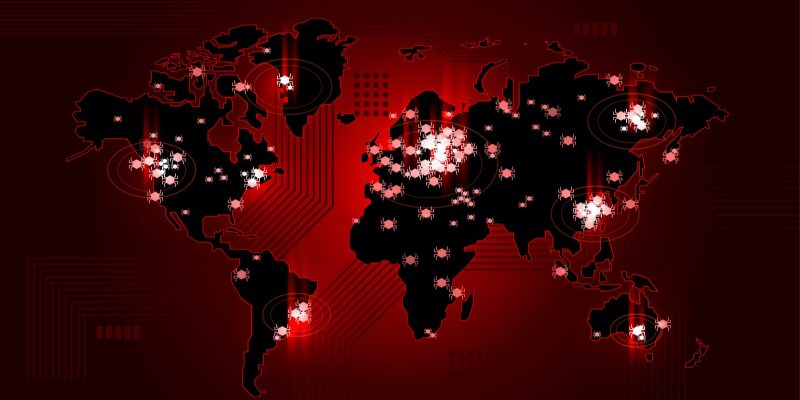 global map in red