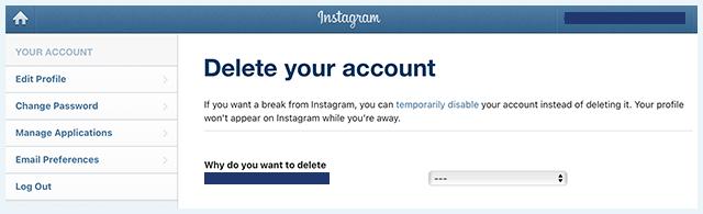 Delete Instagram Delete Your Account Reason Page Screenshot