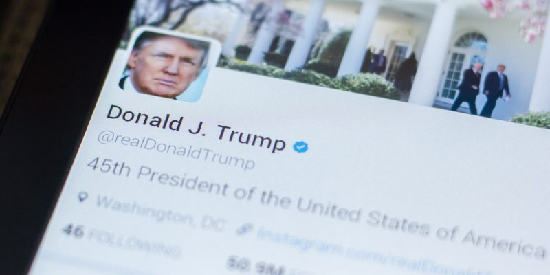Donald Trump, US president twitter account on the display of tablet PC