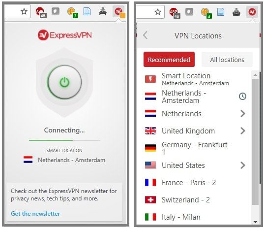 ExpressVPN browser extension activated