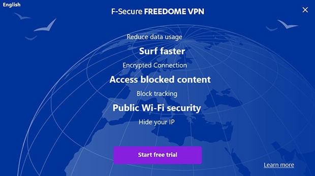 F-Secure Freedome VPN Install screen