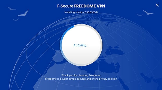 F-Secure Freedome VPN installing
