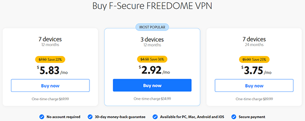 F-secure FREEDOME VPN prices