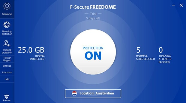 F-Secure Freedome VPN software interface