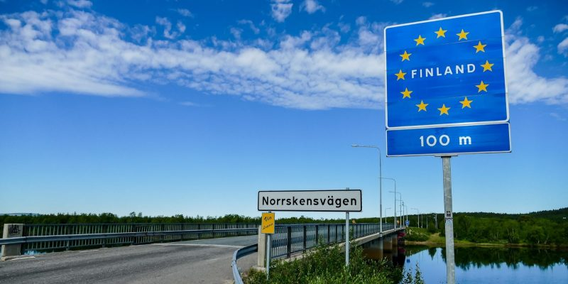 Finland Street Sign in Border between Sweden and Finland. Finland is Looking for a Broker to Sell $78 Million of Seized Bitcoin.
