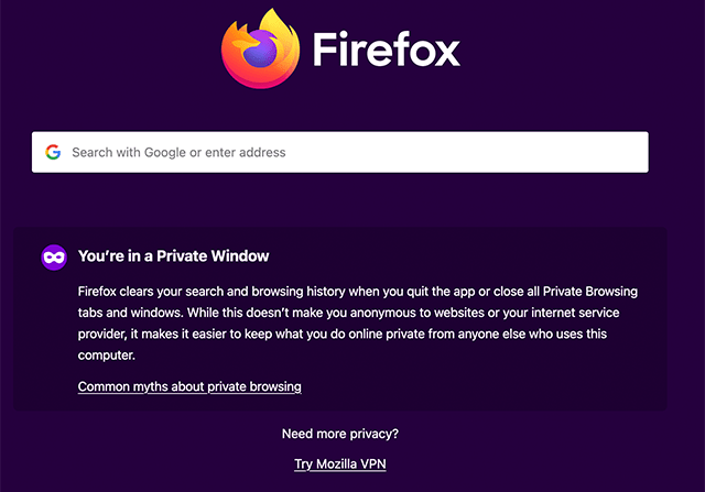 Firefox Private Browser Example screenshot