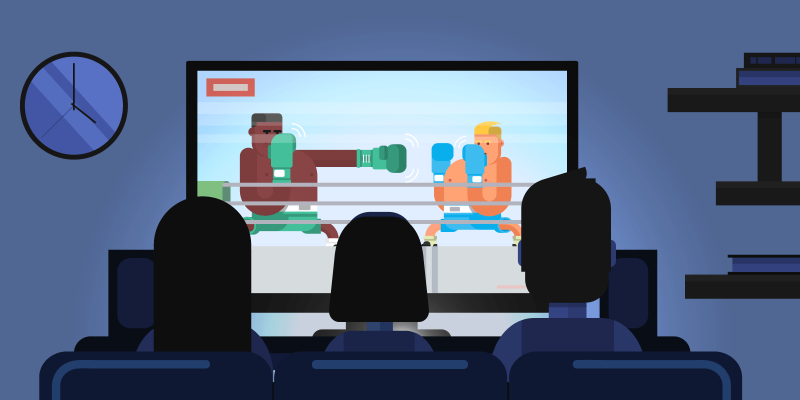 2 kickboxing practitioners fighting each other on a TV screen