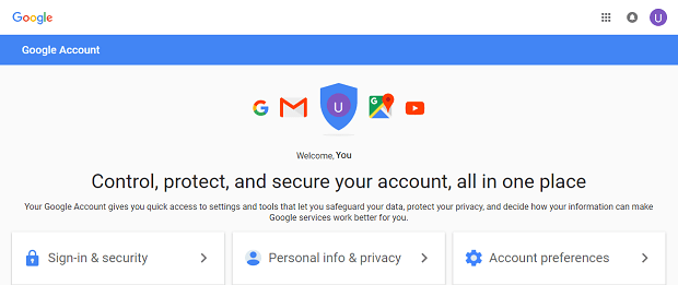 Google account welcome