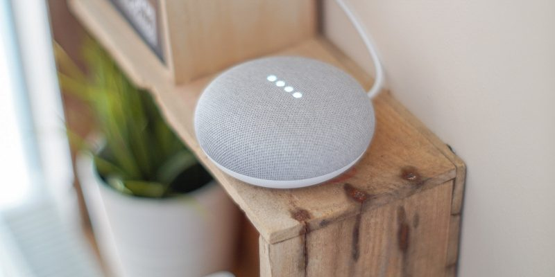 AI-based assistant Google Home Mini being activated with a voice command