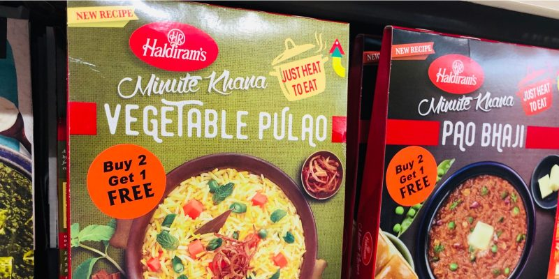 Haldiram's Vegetable Pulao and Pao Bha from India on a store shelf in Fremont, CA (US)