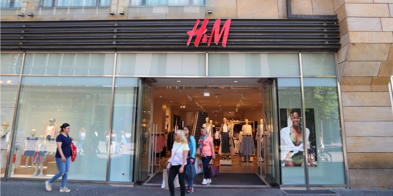 People visit H&M fashion store at Karolinenstrasse shopping street in Nuremberg, Germany