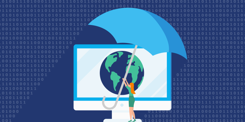 Woman shielding globe on computer from malicious code