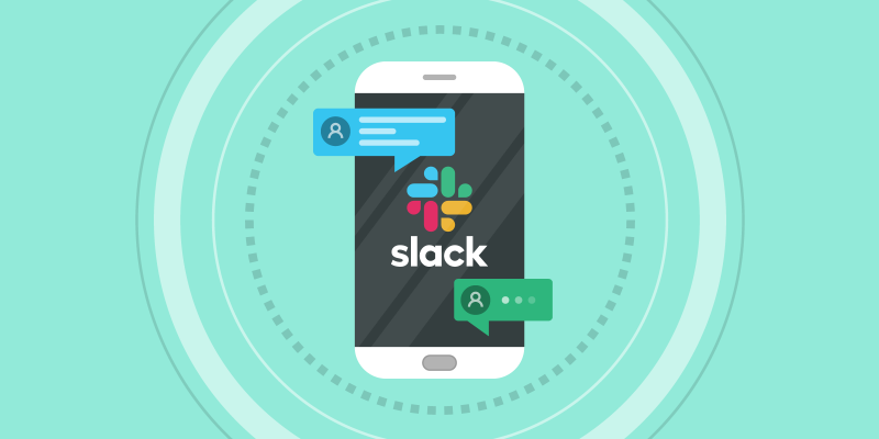 Smartphone with Slack app and chat bubbles