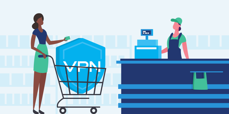 Woman buying a VPN at the store