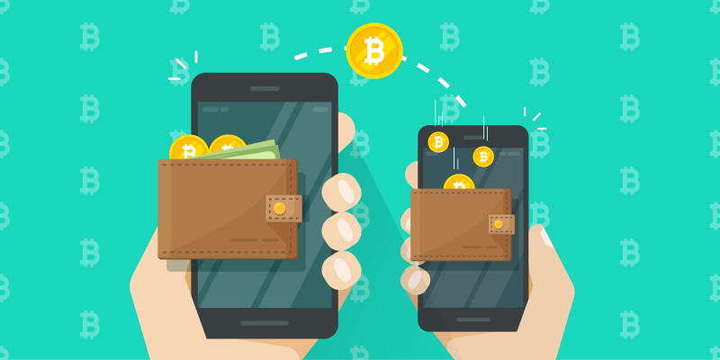 Bitcoin being transferred from one phone to another