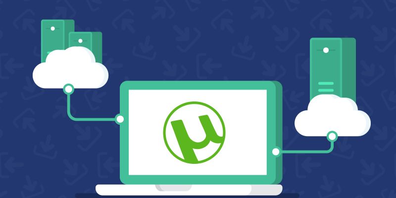 A laptop with uTorrent logo on it connected to two devices places on the clouds above it