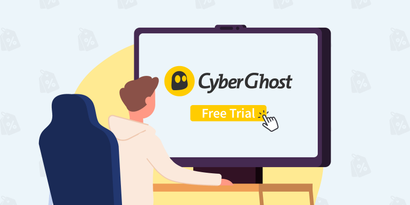 """Man clicking on """"Free Trial"""" button below the CyberGhost logo"""