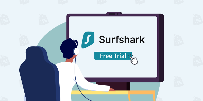 """Man clicking on """"Free Trial"""" button below the Surfshark logo"""