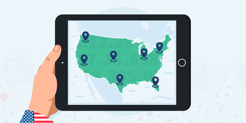 A Map of the US with VPN server locations illustrated