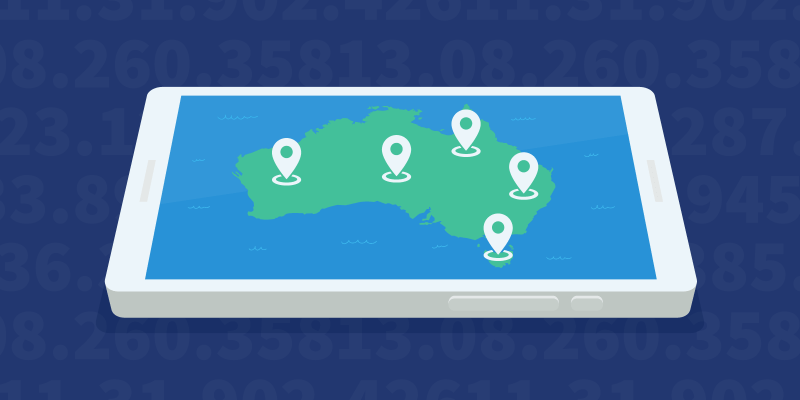 A map of Australia with VPN server locations