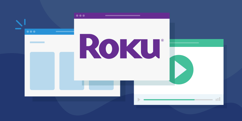 Multiple browser windows including one with the Roku logo