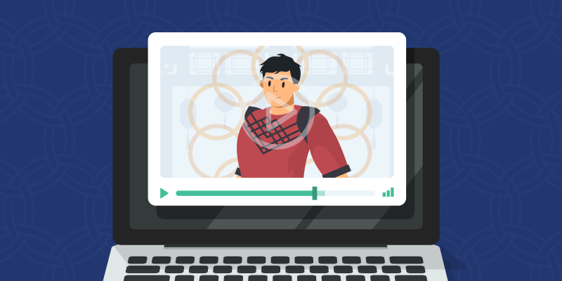 Character that looks like Shang-Chi on a laptop screen with 10 rings behind him